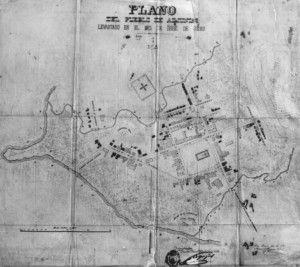 Plano del Pueblo de Adjuntas para el 1880.